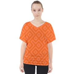 Orange Maze V-Neck Dolman Drape Top