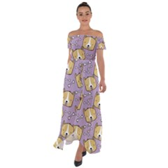 Corgi Pattern Off Shoulder Open Front Chiffon Dress by Sudhe