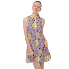 Corgi Pattern Sleeveless Shirt Dress
