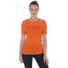 Orange Maze Shoulder Cut Out Short Sleeve Top