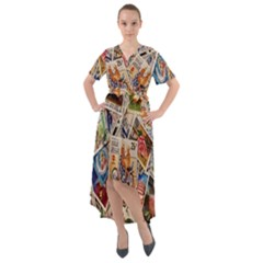 Stamp Front Wrap High Low Dress by ArtworkByPatrick