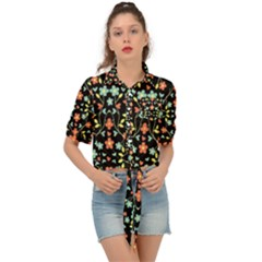 Flowers-2 Tie Front Shirt