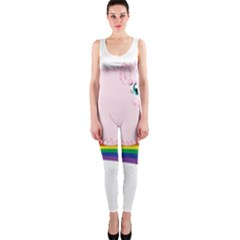 Pink Fluffy Unicorns Dancing On Rainbows Drawing One Piece Catsuit by Sudhe