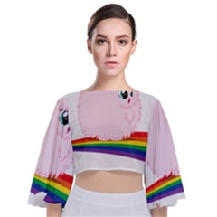 Pink Fluffy Unicorns Dancing On Rainbows Drawing Tie Back Butterfly Sleeve Chiffon Top