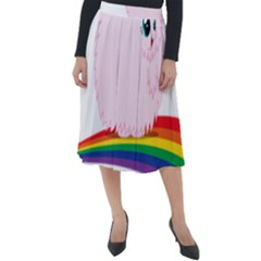 Pink Fluffy Unicorns Dancing On Rainbows Drawing Classic Velour Midi Skirt