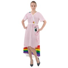 Pink Fluffy Unicorns Dancing On Rainbows Drawing Front Wrap High Low Dress
