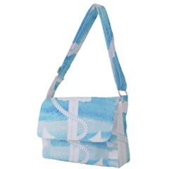 Anchor Watercolor Painting Blue Full Print Messenger Bag by Sudhe