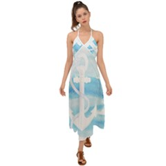 Anchor Watercolor Painting Blue Halter Tie Back Dress