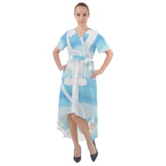 Anchor Watercolor Painting Blue Front Wrap High Low Dress