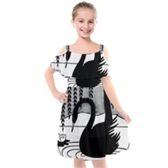 Vintage Swan Bird Nature Water Kids  Cut Out Shoulders Chiffon Dress