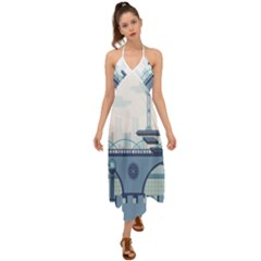 Blue City Building Fantasy Halter Tie Back Dress