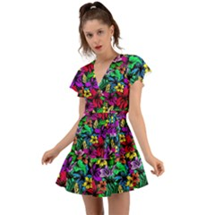 Flowers 3 Flutter Sleeve Wrap Dress