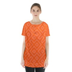 Orange Maze Skirt Hem Sports Top
