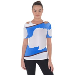 Waving Proposed Flag Of Antarctica Shoulder Cut Out Short Sleeve Top