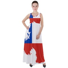 Chile Flag Map Of Antarctica Empire Waist Velour Maxi Dress by abbeyz71