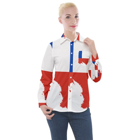 Chile Flag Map Of Antarctica Women s Long Sleeve Pocket Shirt by abbeyz71