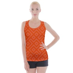 Orange Maze Criss Cross Back Tank Top
