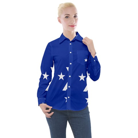 Flag Of The French Southern And Antarctic Lands, 1958 Women s Long Sleeve Pocket Shirt by abbeyz71