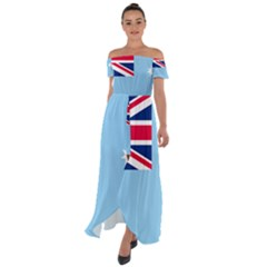 Proposed Flag Of The Australian Antarctic Territory Off Shoulder Open Front Chiffon Dress by abbeyz71