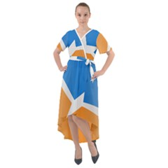 Waving Flag Of Tierra Del Fuego Province, Argentina Front Wrap High Low Dress
