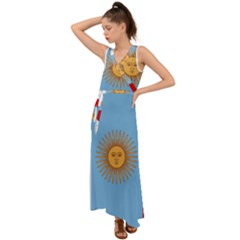 Unofficial Flag Of Argentine Cordoba Province V Neck Chiffon Maxi Dress by abbeyz71