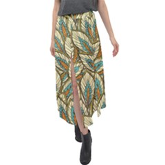 Tropical Leaves Velour Split Maxi Skirt by goljakoff