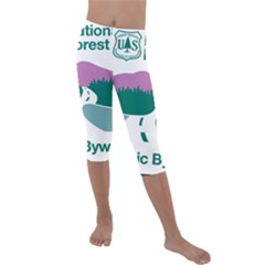 National Forest Scenic Byway Highway Marker Kids  Lightweight Velour Capri Leggings  by abbeyz71