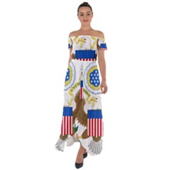 Greater Coat Of Arms Of The United States Off Shoulder Open Front Chiffon Dress by abbeyz71