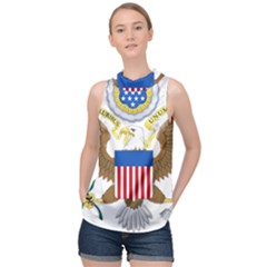 Greater Coat Of Arms Of The United States High Neck Satin Top by abbeyz71