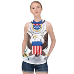 Greater Coat Of Arms Of The United States High Neck Satin Top