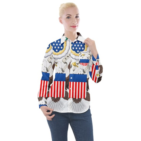 Greater Coat Of Arms Of The United States Women s Long Sleeve Pocket Shirt by abbeyz71