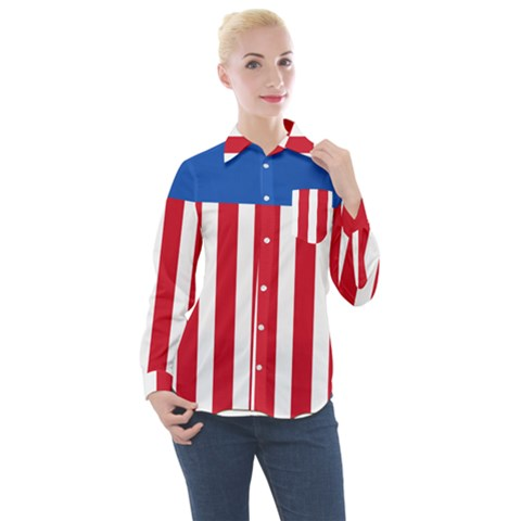 Lesser Coat Of Arms Of The United States Women s Long Sleeve Pocket Shirt by abbeyz71