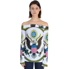 Great Seal Of The United States   Obverse  Off Shoulder Long Sleeve Top by abbeyz71