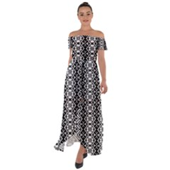 Black And White 3 Off Shoulder Open Front Chiffon Dress