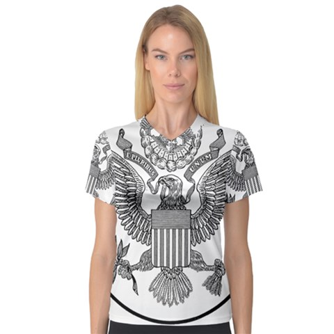 Black & White Great Seal Of The United States - Obverse  V-neck Sport Mesh Tee by abbeyz71