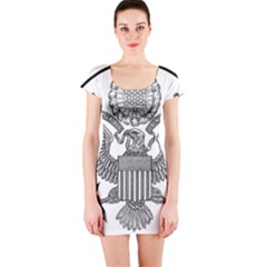 Black & White Great Seal Of The United States   Obverse  Short Sleeve Bodycon Dress