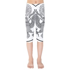 Black & White Great Seal Of The United States   Obverse  Kids  Capri Leggings  by abbeyz71