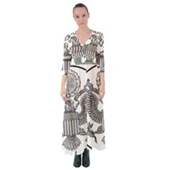 Black & White Great Seal Of The United States - Obverse  Button Up Maxi Dress