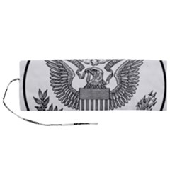 Black & White Great Seal Of The United States   Obverse  Roll Up Canvas Pencil Holder (m)
