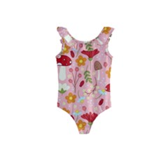 Floral Surface Pattern Design Kids  Frill Swimsuit