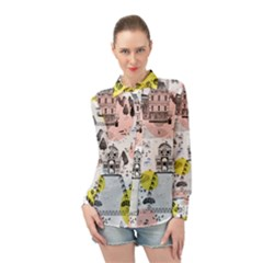 The Park  Pattern Design Long Sleeve Chiffon Shirt