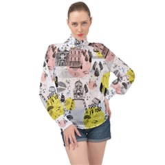 The Park  Pattern Design High Neck Long Sleeve Chiffon Top