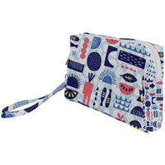 Vector Illustrated Pattern Design Wristlet Pouch Bag (small)
