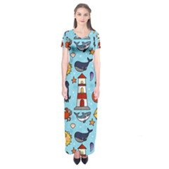 Surface Pattern Design Short Sleeve Maxi Dress