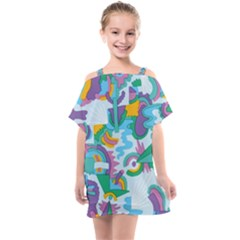 Pattern Hotdogtrap Kids  One Piece Chiffon Dress