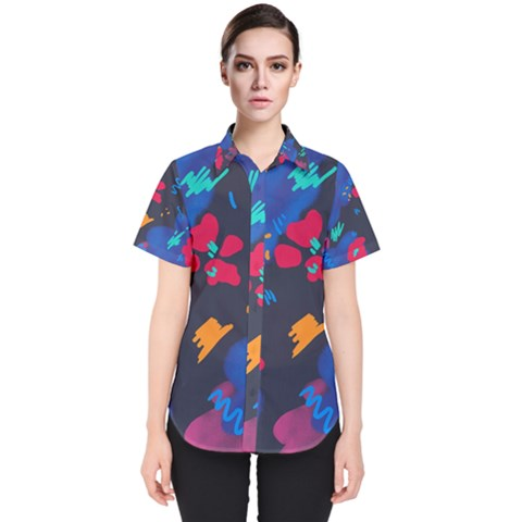 Patterns Rosebuds Women s Short Sleeve Shirt by Sudhe