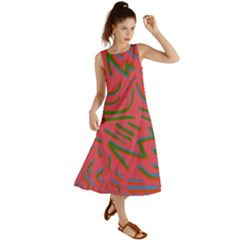 Pattern Saying Wavy Summer Maxi Dress