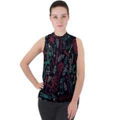 Abstract Pattern Mock Neck Chiffon Sleeveless Top