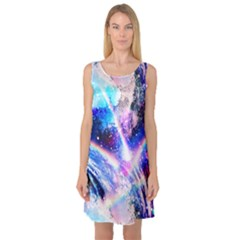 Crystal Wave Pattern Design Sleeveless Satin Nightdress