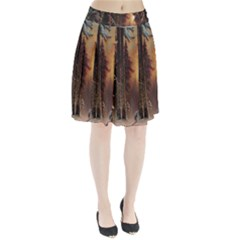 Sunset In The Frozen Winter Forest Pleated Skirt